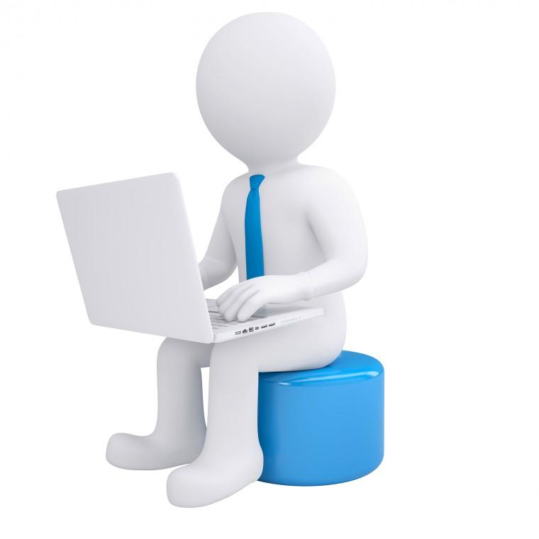 White 3d man working at his laptop